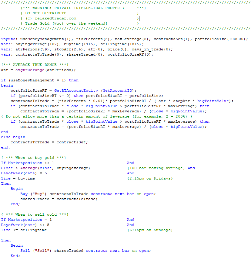 Gold Day Trading Open Source Code